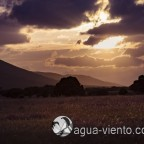 sunddown in Cabañeros National Park - protected landscape in south of Spain