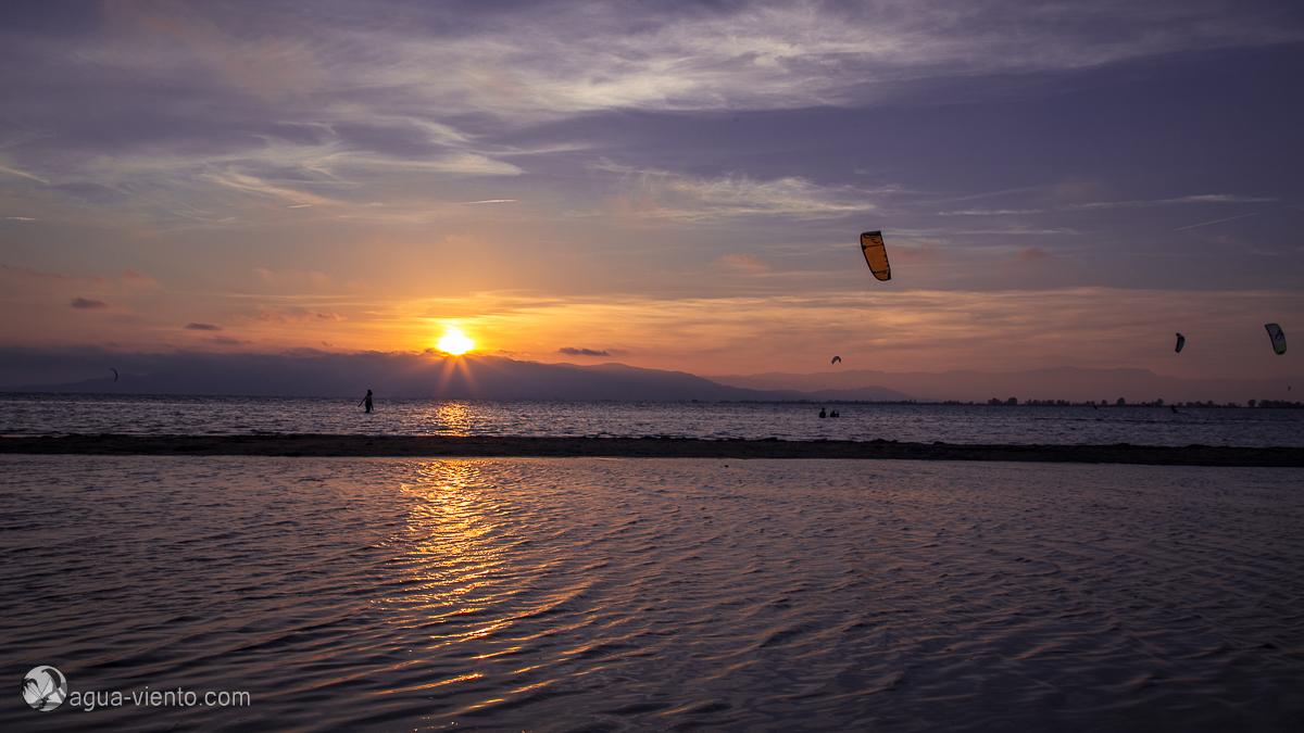 Sonnenuntergang am Trabucador im Ebro-Delta