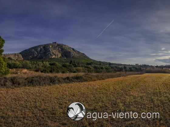 Paragliding Castell de Montgri on Costa Brava in Catalonia - landing area Torroella de Montgrí