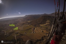 picture - view from the air to paragliding landing field Foubes in Avia (Bergueada) in region Barcelona